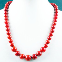 red coral beads necklace - Discounted Factory Price Hot Selling Red Coral Gemstone Round Bead Necklace Gemstone Jewelry