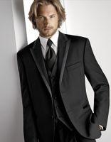 Wholesale Hot Recommend Two Buttons Black Groom Tuxedos Peak Lapel Groomsmen Best Man Suit Mens Wedding Suits Jacket Pants Vest Tie NO