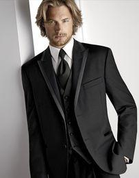 Wholesale Top Recommend Two Buttons Black Groom Tuxedos Peak Lapel Groomsmen Best Man Suit Mens Wedding Suits Jacket Pants Vest Tie NO