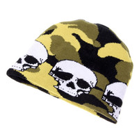 10-14 Years beret hat pattern - Stylish White Skulls Pattern Warm keeping Cotton Short Beanie Cap Soft Weave Hat for Boy Men Colore