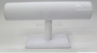 Wholesale T Bar White Leatherette Watch Bracelet Jewelry Display Stand Holder Rack For Jewelry DS2