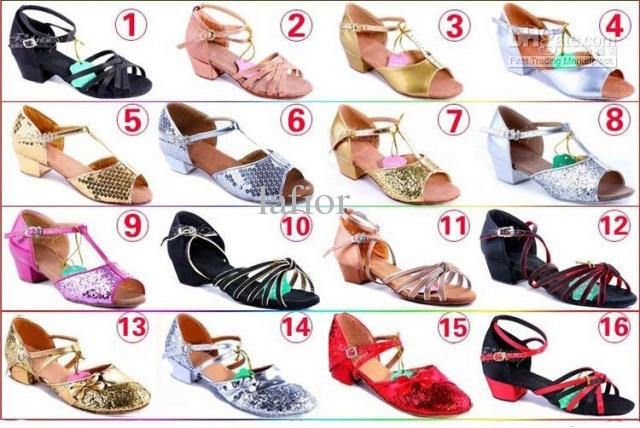 Kids Latin dancewears high heels girls's dancewear 16 style size 28-40 10 pcs/lot dance wears