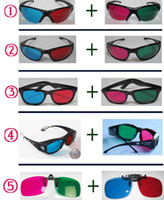 Wholesale Combination of package RED MAGENTA BLUE GREEN D Glasses three dimensional glasses Sold in Pairs
