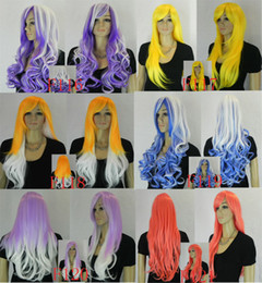 Wholesale women Blond Long Curly Ponytail Cosplay Wig Accessories purple yellow red orange black mix colo