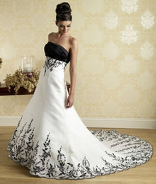 Wholesale Strapless Satin Embroidery A Line Wedding Dresses New Latest Evening Prom Gown Black and White