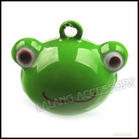 Wholesale 14 mm Green Frog Head Metal Christmas Bell Copper Party Ornament Accessory