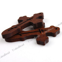 Cross wooden crosses - 1080PCS Wooden Charms Pendants Beads Cross Pandent Fit Chains Christmas Decoration Free EMS