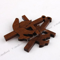 Charms wooden crosses - 690pcs New Wooden Cross Charms Pendants Beads Fit Chains Christmas Decoration mm Free EMS