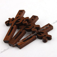 wooden crosses - 1080pcs New Wooden Charms Pendants Beads Cross Pandent Fit Chains Decoration mm Free EMS