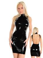 Wholesale Sexy Lingerie Club Wear Stage Dress Goth Faux Leather Dress FE Black