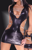 Wholesale Andrew Sexy Club wear Faux Leather Fetish Dress Chain Wear Erotic Clubwear Bdsm Dresses Black FE
