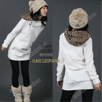 Wholesale Womens Autumn Hoodies Leopard Sweatshirt Top Outerwear Parka