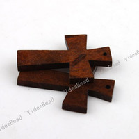Wholesale Wooden Cross Shape Pendants x29x4MM Fit Necklaces Bracelets Jewelry Findings