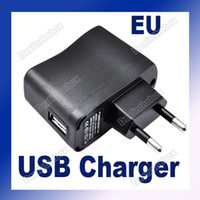 Wholesale USB AC Power Supply Wall Adapter MP3 Charger Adapter for PDA DV Mp3 Mp4 EU Plug In Black