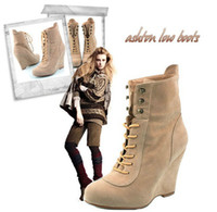Wholesale Christmas New fashion Autumn winter latest Suede Wedge heels lace up short boots high heels shoes