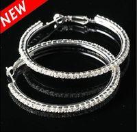 wholesale basketball wives earrings - Silvertone Big Circle lady s Basketball Wives Hoop Earrings With Crystal Rhinestone Dangle Earring