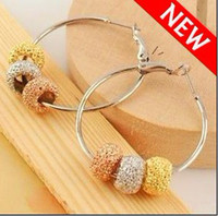 Wholesale Trendy Bling Basketball Wives Hoop Earrings With Gold Silver Plated Shine Powder Beads Earring