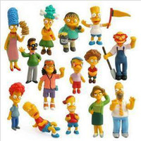 Cheap Wholesale 14 pcs set Anime The Simpsons Action FIgures Homer Simpson Doll Birthday Christmas Gift