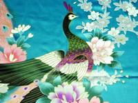Wholesale Women s green peafowl Silk Robe Pajamas Nightgown Sleepwear