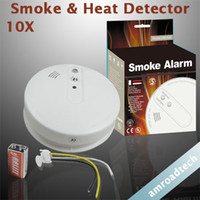 Wholesale 10pcs Photoelectronic Smoke Heat Detector Security Alarm DC9V AC110 V Power Supply AT SHD AD
