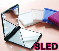 Wholesale New Fashion LED mirror mini cosmetic mirrors girls favorite pocket mirror