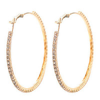 Wholesale Fashion Jewellery gold plated pairs MM Big Crystal Earring Hoop Circle Earrings