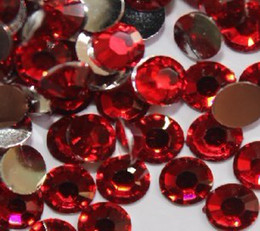 Wholesale RED Flat Back Acrylic Rhinestones Gems mm Crystal Beads