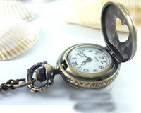 Wholesale Low price vintage style Skeleton Watch heart shape pocket watch chain necklace unisex pocket watch