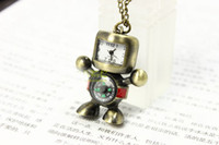 Wholesale Factory price vintage style compass robot pattern pocket watch chain necklace unisex pocket watch