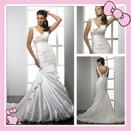 Wholesale Dresses for wedding mermaid V neck Desinger spring fall Bride Wedding gown Custom made