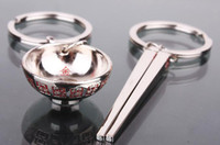 Wholesale 20pairs Polished Chrome Couple Keychain Chinese Traditional Style Bowl and Chopsticks Keyring Car Key Chain Ring Keyfob