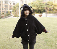 Wholesale Girl s Plus Size Poncho Coat Long Sleeve Batwing Cloak Rabbit Ear Mantle Winter Cape With Hat g7208