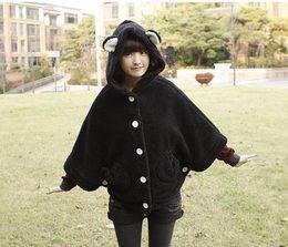 Wholesale Girl s Plus Size Poncho Coat Long Sleeve Batwing Cloak Rabbit Ear Mantle Winter Cape With Hat g7208