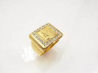 Wholesale fashion k GP gold plated allah muslim islamic rhinestone ring JH