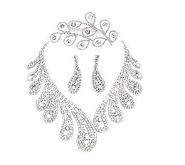 Wholesale Brilliant Wedding Bridal Crystal Rhinestone Fancy Necklace Earring Tiara Set Evening Jewelry j poml