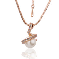 Wholesale 18K Rose Gold Plating precious pearl crystal necklace fashion jewelry Christmas gift