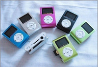 Wholesale Mini Clip MP3 Player with LED Screen MP3 with TF card slot mp3 earphone usb cable free shipped