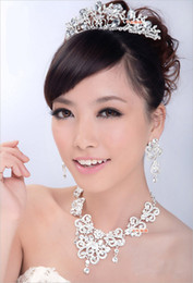 Wholesale Rhinestone Tiara Necklace Earring Set Bridal Wedding Party Jewelry Wedding Accessories hgyuhg
