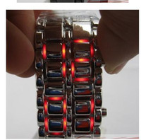 Wholesale 20pcs Christmas gift digital LED Watch Iron Samurai Japanese watches red or blue light Fashion watch