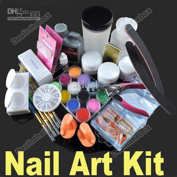 Nail art tips kit set full combo liquid powder diy acrylic for Acrylic nail decoration supplies