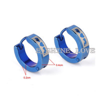Wholesale New Fashion Laser Engraved Blue Stainless Steel Earrings For Men Women st erL4