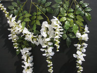 Wholesale 20pcs silk simulation artificial White Wister flower garlands wedding Christmas m Vine flowers