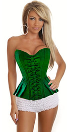 Wholesale Sexy Adult Green Knot Boned Victorian Women Corset Bustier Intimates Fancy Dress