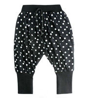 Wholesale 9pcs Fashoin girls harem Pants white round dot kids leggings girs render pants baggies NO