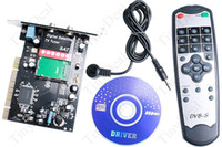 Wholesale DVB S Digital Satellite HDTV TV Receiver Turner PCI Card with CD Driver Remote Control Brand New