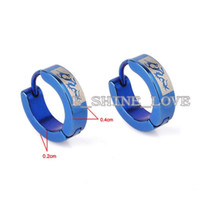 Wholesale Pairs Dragon Laser Engraved Blue Stainless Steel Earrings For Men st erL8 mmX4mm
