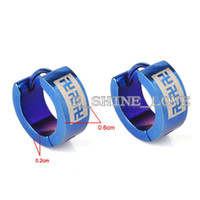 Wholesale Pairs Laser Engraved Blue Stainless Steel Earrings For Men Mens Jewelry st erL14 mmX6mm