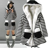 Women Waist_Length Wool Blend Ladies Womens Fashion Stripe Hoodies Zipper Sweater Coat Jacket