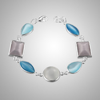 Wholesale Rare Asian Genuine Tibet Silver Light blue Opal Bracelet jewelry Charms Bracelets