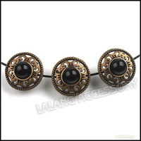 Wholesale 19mm Ancient Bronze Alloy Sewing Button With Black Plastic Bead Tibetan Costume DIY